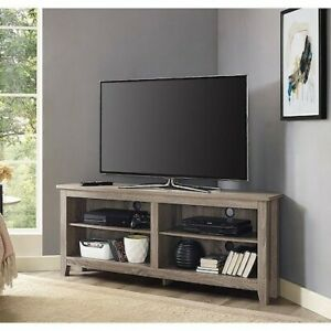 Corner TV Stand Home Living Room Driftwood Entertainment Wood Furniture Console