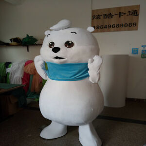 White Bear Mascot Costume Custom Carnival Fancy Outfit Cute Gifts【High Quality】