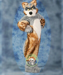 Cute High Quality Luxury Plush Simulation Fur Color Wolf Mascot Costumes Gift A+