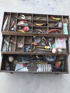Vintage Kennedy Tackle Box Stock Full Of Fishing Lures And Supplies