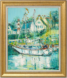 YOLANDE ARDISSONE~LISTED ARTIST~SAILING BOAT IN BRITTANY~ORIGINAL OIL PAINTING