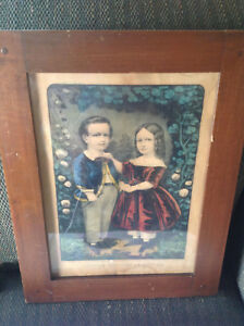 Antique 19th Century Original Currier and Ives Lithograph:  Little Brother and S $150.00