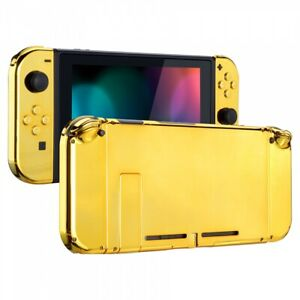 Chrome Gold Console Back Plate With Controller Housing Shell for Nintendo Switch