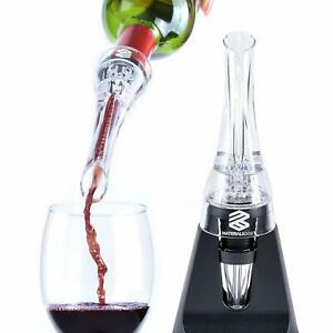 wine pourer aerator set w/ stand and wine vacuum stopper set preminum quality