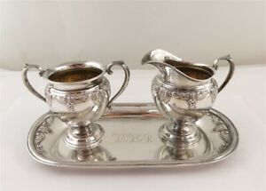 Stradivari by Wallace Sterling Silver Creamer Open Sugar & Under Plate