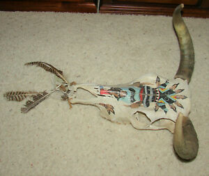 Real Cow Skull Teeth & Horns Hand Painted Native American Indian Kachina Signed