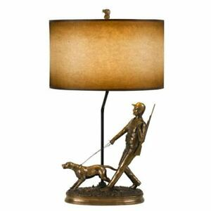 Lodge Cast Bronze One-Light Hunter Table Lamp with Hand Painted Shade