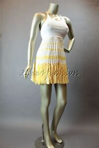 $368 New CINDY LEE Pleated Silk Cotton Yellow White Stripe Dress Large