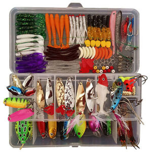 Lots Realistic Fishing Lures Kit with Tackle Box Saltwater Freshwater Fish Gear