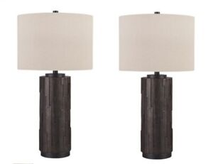 New Contemporary Table Lamp Black & Gold Design - Set of (2) Beautiful Lamps