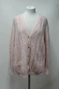 TRUSSARDI Ladies Pink Wool Angora Cable Knit Button Front Cardigan Approx. XL