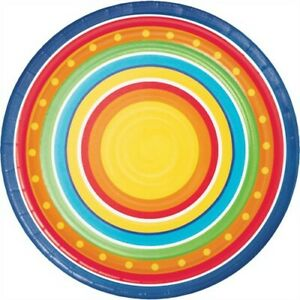 Painted Pottery 7 Inch Plates 8 Pack Spring Summer Birthday Party Decoration