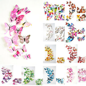 120pcs 3D Butterfly Sticker Art Design Wall Stickers Kids Room Decor with Pin