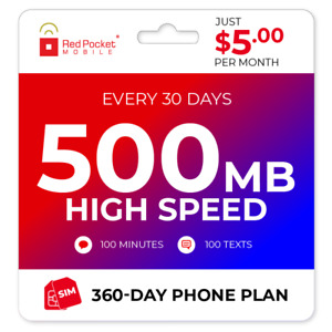$5 Mo Red Pocket Prepaid Wireless Phone PlanKit: 100 Talk 100 Text 500MB $60.00