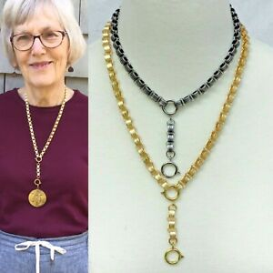 Repro Victorian book chain collar necklace choker 16 20quot; Antique gold or silver $37.99