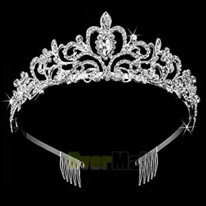 Bridal Princess Crystal Tiara Wedding Crown Veil Hair Accessory SilverTwo Combs $12.61