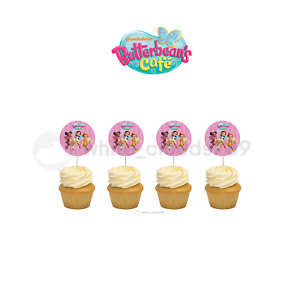 12 Butterbean's Cafe Cupcake Cake Topper Food Pick Favor Party Birthday Kid