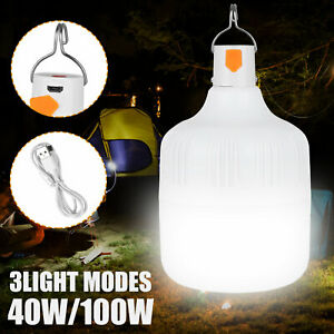40 100W LED Camping Light USB Rechargeable Outdoor Tent Lamp Hiking Lantern Lamp