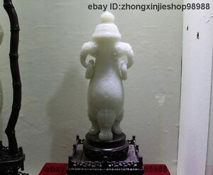 Chinese Royal White Jade Carved Three - Dog Lion legged flower Pot Vase