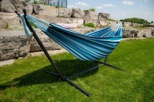 Hammock with Stand Outdoor Patio Camping Garden Steel Frame Blue Portable Bed
