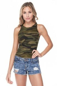 CAMO Print Bodysuit CAMOUFLAGE Crew Neck Tank Top Sleeveless Stretch Fitted