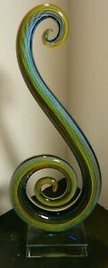 Hand Blown Rainbow Colored Abstract Swirl Murano Art Glass Sculpture Excellent $129.99