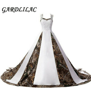 2019 Camouflage Wedding Dresses Satin White Camo Ball Gown Formal for Wedding