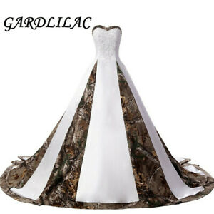 Strapless Lace Camouflage Wedding Dresses for Bride Satin Camo Long Formal Gowns