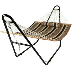 Hammock with Stand Outdoor Garden Camping Patio Steel Frame Brown Portable Bed