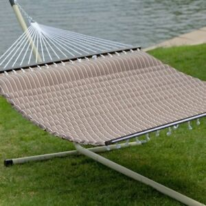 Hammock with Stand Outdoor Garden Camping Patio Pewter Steel Frame Portable Bed