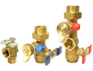 (Case of 6) Rinnai - Tankless Water Heater Valves Kit With Relief Valve Threaded