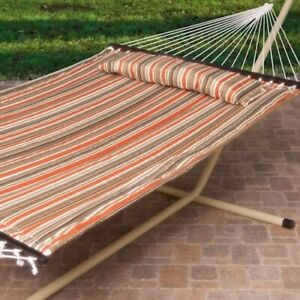 Hammock with Stand Garden Camping Patio Pewter Steel Frame Stripe Portable Bed
