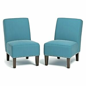 Brodee Armless Chair in Velvet  Color Turquoise.Set of 2.Transitional Design