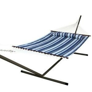 Hammock with Stand Patio Garden Camping Pewter Steel Frame Stripe Portable Bed