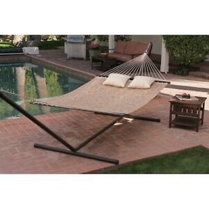 Hammock with Stand Patio Garden Camping Yard Taupe Steel Frame Palm Portable Bed