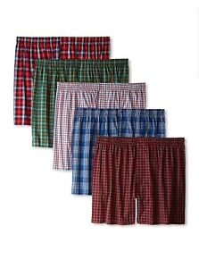 5-Pack Hanes Men's Ultimate Tagless Boxers Plaids Large 36-38