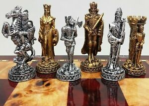 *** HEAVY *** MEDIEVAL TIMES PEWTER METAL Chess Men Set Antique Finish NO BOARD $169.95