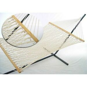 Hammock with Stand Patio Garden Deck Pool Camping Taupe Steel Frame Portable Bed