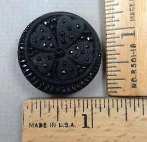 LACY BLACK GLASS BUTTON #10 1800s Beautiful Clover  Hearts Pattern LARGE