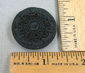LACY BLACK GLASS BUTTON #16 1800s Beautiful Embossed Art Deco Design LARGE