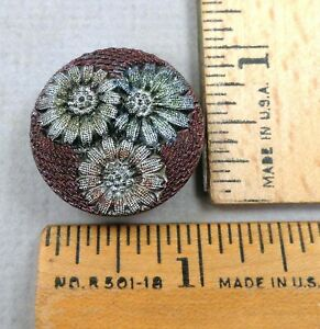 LACY BLACK GLASS BUTTON #9 1800s Beautiful Multi-Color Flower Pattern Textured