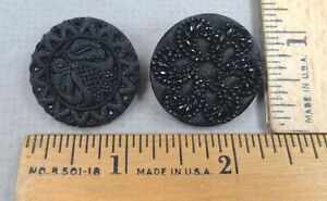Lot of 2 LACY Black Glass BUTTONS #8 1800s Great Art Deco Designs
