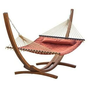 Hammock with Stand Patio Garden Deck Pool Camping Yard Wood Frame Portable Bed
