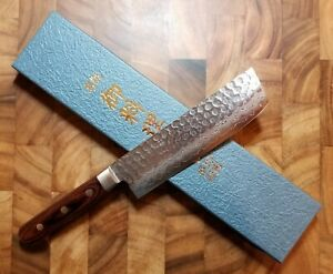Kikusui 170mm Japanese Nakiri Knife VG10 Stainless Steel Hammered Damascus