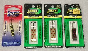 Lot Of 4 Lures JAKE'S JAKES SPIN A LURE 14 oz16oz Super Duper Frog Luhrjensen