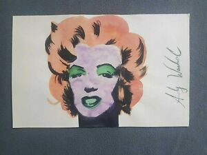ANDY WARHOL DRAWING OF M. MONROE SIGNED AND SEALED ON ORIGINAL PAPER OF THE 60s