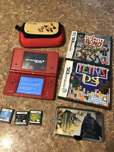 Nintendo DSi Handheld Game Console -red With Games And Cases