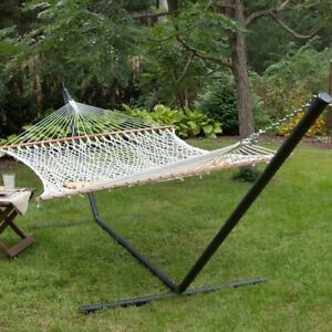 Hammock with Stand Patio Deck Camping Taupe Steel Frame Double XXL Portable Bed