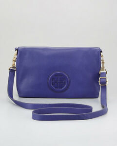 100% AUTHENTIC NEW TORY BURCH HANNAH PURPLE LEATHER SHOULDER BAGHANDBAG
