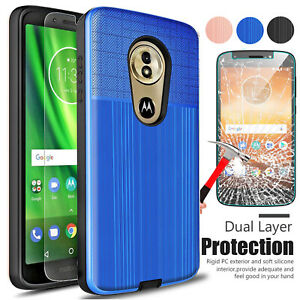 For Motorola Moto G6 Play Plus Forge Hybrid PC Case Cover+Glass Screen Protector